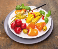 Italian antipasti vegetables with serving fork Royalty Free Stock Photography