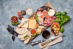 Italian antipasti wine snacks set stock photos