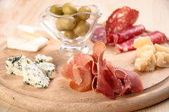 Italian antipasto with ham, olive, cheese Stock Images