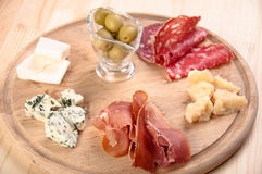Italian antipasto with ham, olive, cheese Stock Photography