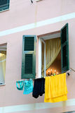 Italian apartment hangs laundry to dry Stock Photos