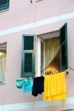 Italian apartment hangs laundry to dry Stock Photos