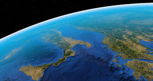 Italian or apennine peninsula in planet earth viewed from outer space in rotation stock footage