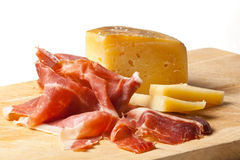 Italian Appetizer. Typical Italian appetizer with prosciutto and pecorino cheese Royalty Free Stock Image
