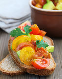 Italian appetizer bruschetta with tomatoes Royalty Free Stock Image