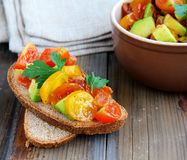 Italian appetizer bruschetta with tomatoes Royalty Free Stock Photography