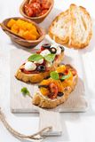 Italian appetizer - bruschetta, top view Stock Image
