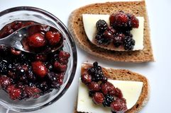 Italian appetizer: cheese and fruit chutney Royalty Free Stock Photo
