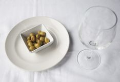 Italian appetizer green olives in a dish Stock Image