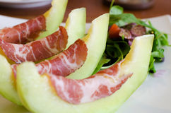 Italian appetizer, ham with melon Royalty Free Stock Image