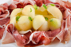 Italian appetizer, ham parma proscuitto with melon Royalty Free Stock Image