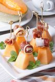 Italian appetizer: melon with ham on skewers vertical Stock Images