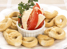 Italian Appetizer or Taralli Crackers with Tomato  Royalty Free Stock Photos