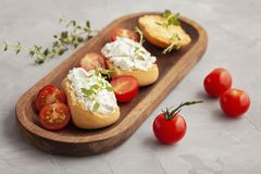Italian appetizer toasted bread bruschetta with cream chease and tomatoes. Delicious and healthy meal, copy space royalty free stock photography