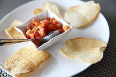 Italian appetizers food , bruschetta slices of toasted baguette Royalty Free Stock Photography