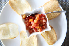 Italian appetizers food , bruschetta slices of toasted baguette Stock Image