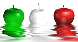Italian Apples In The Water. A picture of three apples that represent the Italian colors Stock Images