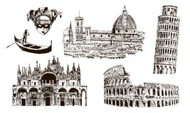Italian architectural symbols: Coliseum, Duomo Santa maria del fiore, pisan tower, Basilica di San Marco, gondola, carnaval mask. Sketch illustration. For vector illustration