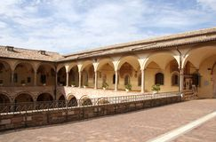 Italian Architecture Arcade - Assisi Italy Royalty Free Stock Photo