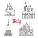 Italian architecture Italy landmarks vector icons Stock Photo