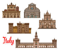 Italian architecture travel landmarks icon set. Italian travel landmark thin line icon with Naples Cathedral, Basilica of San Lorenzo, medieval castle Castel Royalty Free Stock Photos