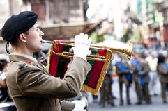 Italian Army bugler. During the Italian Armed Forces Day, November 4 Royalty Free Stock Photos