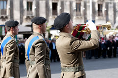 Italian Army bugler. During the Italian Armed Forces Day, November 4 Stock Photography