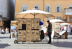 Italian Art Vendor. An Italian art vendor in Rome, Italy Royalty Free Stock Photos