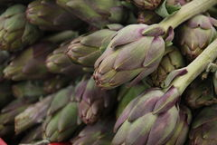 Italian artichoke. A lot of artichoke at an outdoor market Royalty Free Stock Photo
