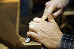 Italian artisan luthier wood carver Stock Images