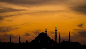 A silhouette of Suleymaniye Mosque stock photos