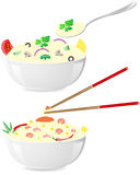 Italian and asian rice with vegetables Royalty Free Stock Image