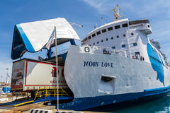 Passenger ferry Moby Love loading a truck Royalty Free Stock Image