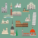 Italian attraction. Cartoon Italy symbols and objects set. Italian famous landmarks for design. Italian attraction. Travel and tourism flat style vector royalty free illustration