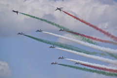 Italian aviation team frecce tricolori Royalty Free Stock Photo