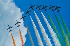Italian aviation team frecce tricolori. Italion aviation team Frecce Tricolori in action, Volkel the Netherlands Royalty Free Stock Photos