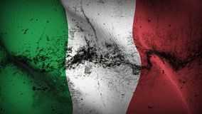 Italy grunge dirty flag waving on wind. Italian background fullscreen grease flag blowing on wind. Realistic filth fabric texture on windy day Stock Images