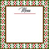 Italian Background Menu with red, green, white checkered border. Italian background with a checkered in red, green and white border. Line in place with text Menu stock illustration
