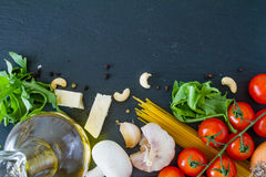 Italian background with tomatoes olive oil mushrooms Stock Photos