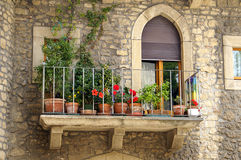 Italian balcony. With many flowers Stock Photography