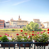 Italian balcony with flowers. In Pisa, view to river Arno Royalty Free Stock Photos