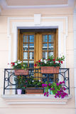 Italian balcony with pot flowers Stock Photos