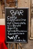 Italian Bar. Cartel Royalty Free Stock Photo