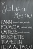 Italian bar menu on a chalkboard Royalty Free Stock Images