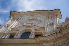 Italian baroque facade, with blue sky. Closeup of an Italian baroque facade, with blue sky Stock Photography