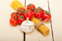 Italian basic pasta ingredients Royalty Free Stock Image