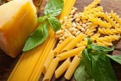 Italian basil pesto pasta ingredients Stock Image