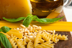 Italian basil pesto pasta ingredients Royalty Free Stock Photography