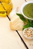 Italian basil pesto sauce ingredients Royalty Free Stock Image