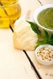 Italian basil pesto sauce ingredients Royalty Free Stock Images